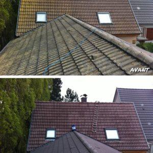 Traitement anti-mousse toiture_AVANT APRES traitement